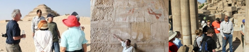 Photograph of clients with Egyptologist Amr Shamala