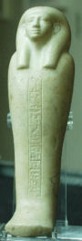 Photograph of  a Shabti from the collection of the Manchester Museum. Image courtesy of the Manchester Museum