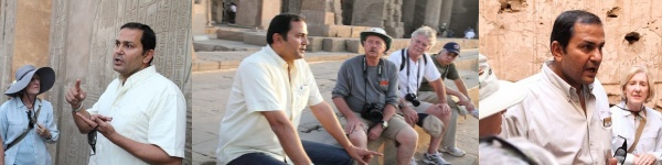Photographic montage of Egyptologist Amr Shamala guiding travelers
