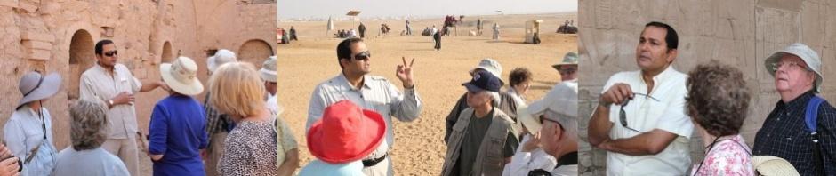 Montage of Egyptologist Amr Shamala with clients