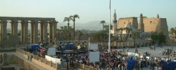 Photograph of Luxor Temple and the Egypt Moving Forward festivities.